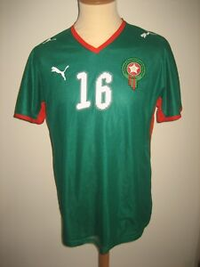 Morocco-MATCH-WORN-home-football-shirt-soccer-jersey-maillot-trikot-size-L