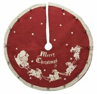 Vintage-style Jingle Bell Christmas Tree Skirt, 24, Primitives By Kathy