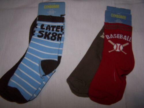 NWT Gymboree 2 pr SOCKS  SZ 3-4 Baseball OR SZ 4-5 Skater