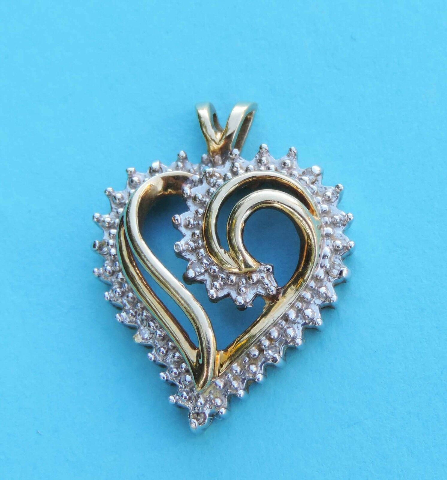Ladies Heart Diamond Cluster Pendant w  9 Diamonds - 10k Yellow & White gold