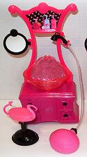 Mattel Barbie Hair Style Salon Shower Sink Vanity Chair Furniture Use Real Water