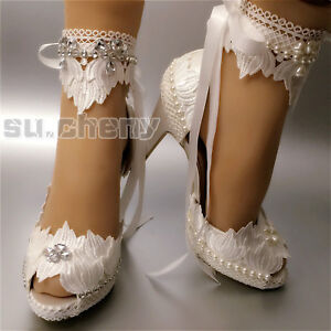 "d51359abb52 Details about su.cheny 3"" 4"" heel white ivory satin lace ribbon peep toe  Wedding Bridal shoes"