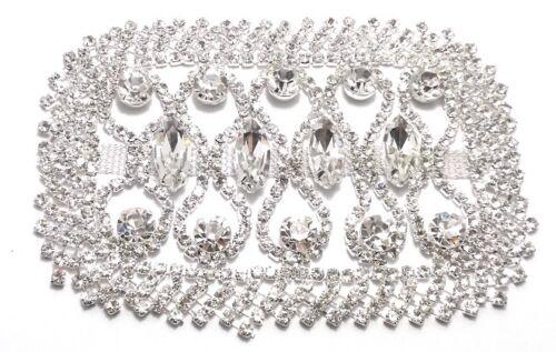 A1812 1 Applicazione Strass cm 10x6,7Crystal-Pietra-Silver Art