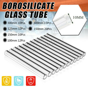 15Pcs 300mm Transparent Glass Tubes OD-10mm 1mm Thick Wall Borosilicate Glass Blowing Tube