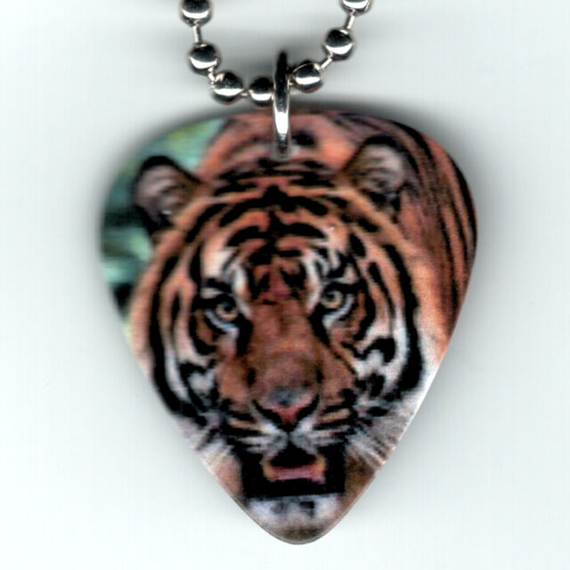 Guitar Pick Necklace Jewelry BENGAL TIGER JUNGLE ANIMAL