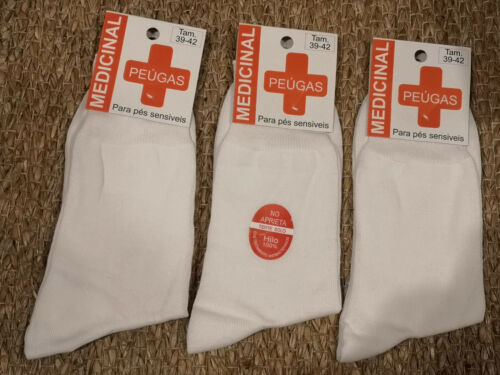 Lot of 3//6 Men's Medical Socks 100/% Cotton health white made in Portugal
