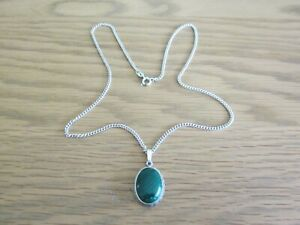 SOLID-STERLING-SILVER-GREEN-ONYX-PENDANT-amp-18-034-CHAIN