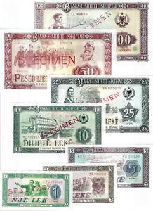 Serial number zero UNC Albania Specimen Paper Money Banknote 5 Lek 1976 RARE
