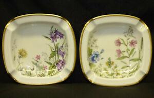 2-Vtg-Krautheim-Germany-Meadow-Flowers-Porcelain-Ashtrays-Wiesengrund-Bavaria