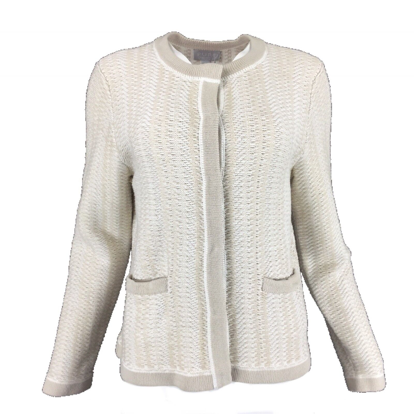 PURE COLLECTION Ivory Sand Beige Pure Cotton Chunky Knit Cardigan 16