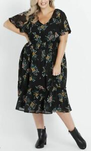 AUTOGRAPH-Dress-Plus-Size-18-Black-Floral-Boho-Ruffle-Sheer-Lined