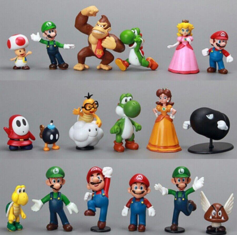 Super mario bros. 18 personaggi - bild modellini statuine peluche miniatur