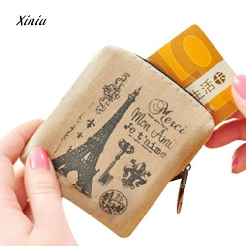 Paris Eiffel tower Small Ladies Childrens Canvas Coin Purse Wallet Zip Pouch
