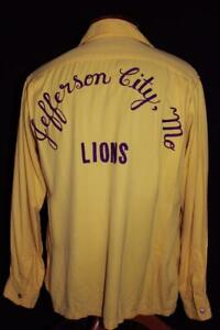 RARE-VINTAGE-1940-039-S-YELLOW-EMBROIDERED-LIONS-RAYON-GABARDINE-SHIRT-SIZE-MEDIUM