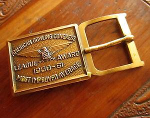 American-Bowling-Congress-Most-Improved-Belt-Buckle-1960-61-Brass