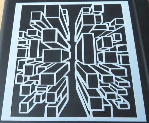 BNIP /& Free P/&P Geometric Cube Mixed Media Stencil Mask Template