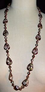 VTG-Chinese-Cloisonne-Hand-Knotted-Red-Enamel-Flower-Bead-Necklace