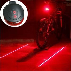5 LED 2 Laser Bicycle Bike Rear Warning Flashing Light Safety Night Tail Lamp
