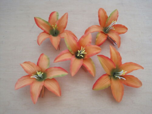 "Five Pc Wedding Prom Lot 3.5 /"" Mango Lily Silk Flower Hair Clips Luau Dance"