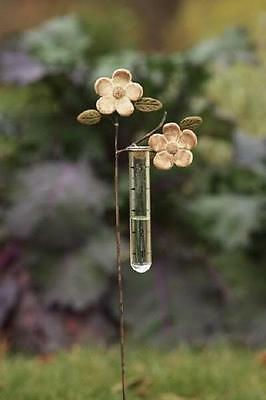 Apple Blossoms Ceramic and Metal Rain Gauge