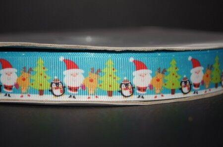 22mm Breite Ripsband Webband 2242 Weihnachstmann mit Pinguin Borte