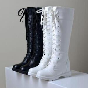 Womens-Round-Toe-Riding-Combat-Shoes-Low-Heel-Lace-Up-Knee-High-Pull-On-Boots-Sz