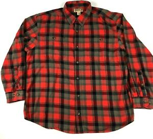 Duluth-Trading-Co-Men-039-s-Heavy-Flannel-Shirt-Sz-2XL-Red-Gray-Long-Sleeve-Plaid