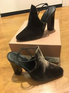 Via-Spiga-Arina-Heeled-Slingback-Mule-size-8-5-in-Bark-Used-with-Original-Box