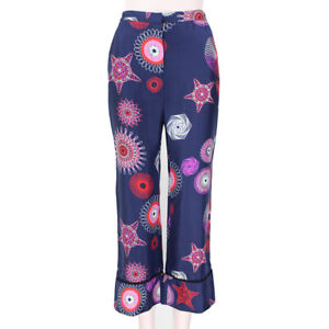 MSGM-Navy-Red-Pink-Spirograph-Print-Silk-Trousers-Pants-IT38-UK6