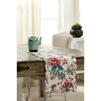 Red And Dark Teal On A Creamy White Background Quilted Cotton Voile Table Runner
