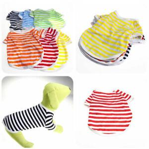 Various-Cute-Pet-Dog-Cat-Stripes-Clothes-T-shirts-Summer-Small-Puppy-Vest-Coat