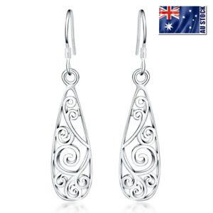 New-925-Sterling-Silver-Filled-Filigree-Flower-Drop-Dangle-Earrings-VINTAGE-LOOK