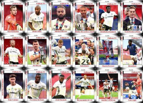 Fulham FC 2020 Liga de Fútbol Campeonato del playoff final ganadores Trading Cards