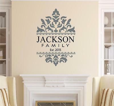 Personalized Custom Name Damask Vinyl Decal Wall Decor Sticker Words Lettering