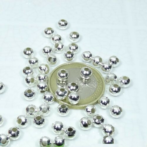 460 Abalorios Redondos T75 Plateados 4mm Beads Plated Balls Perline Argento
