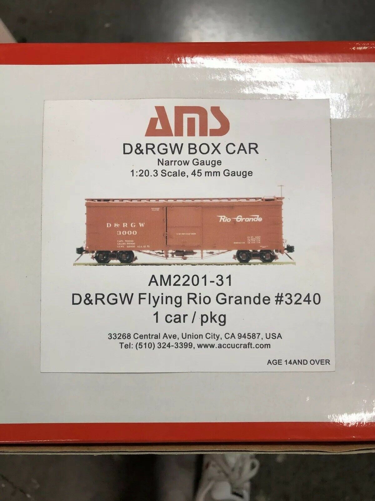 Accucraft 1 20.3  D&RGW Box Car