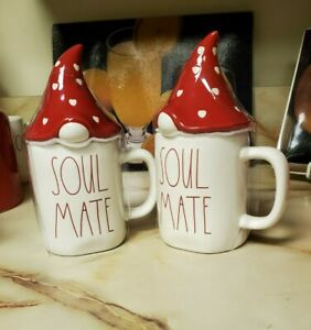 "Rae Dunn Set of 2 Valentine's ""SOUL MATE "" Coffee Mug with Red Gnome Heart Hat"