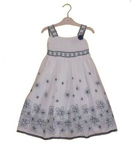 f2d74b0465 NEW GIRLS WHITE BLUE DRESS EMBROIDERED FLORAL COTTON SUMMER DRESS 1 ...