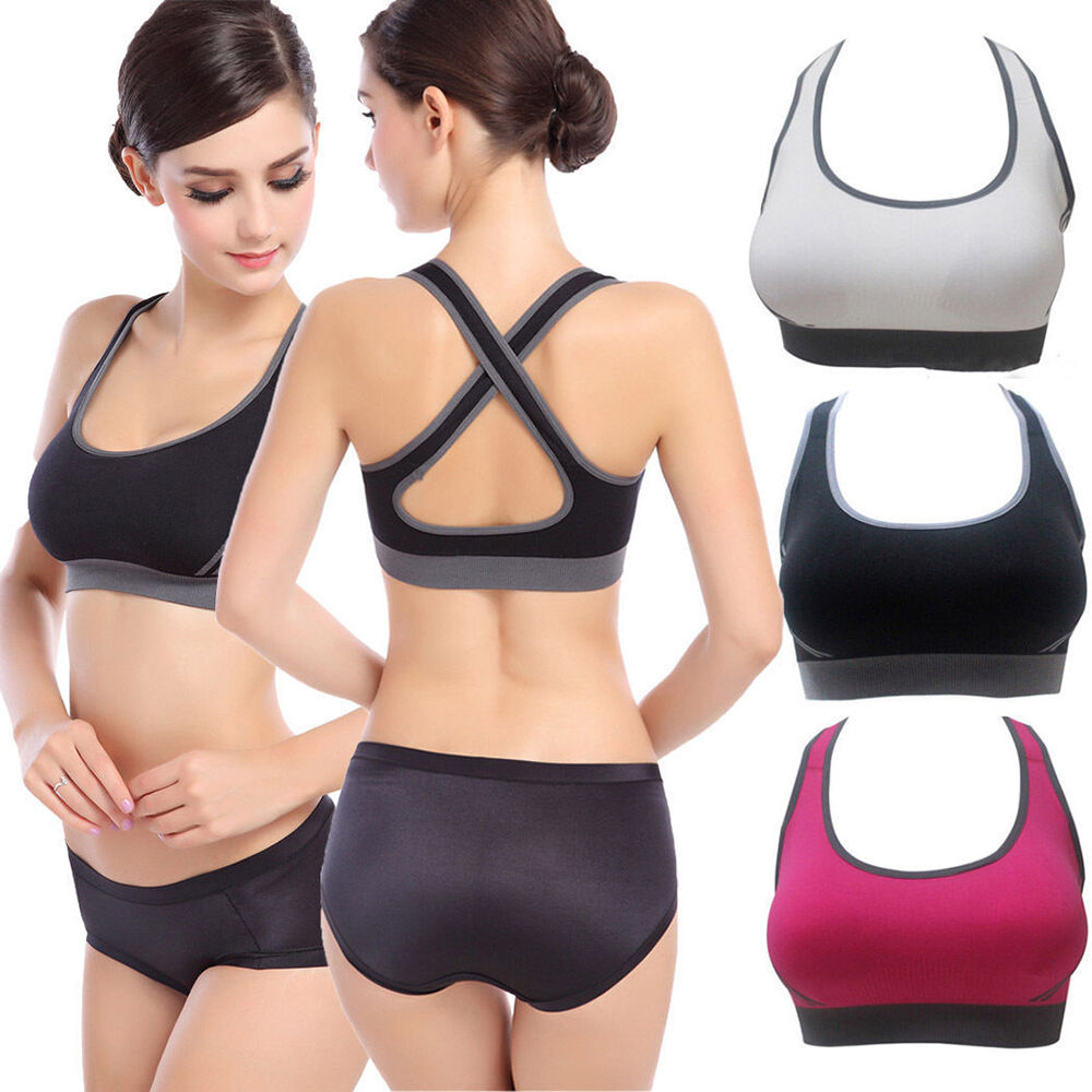 Women Padded Top Athletic Fitness Stretch Racerback Gym ...