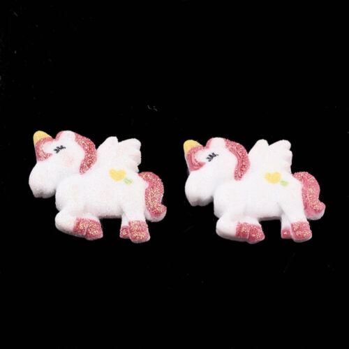 10 Stück Harz Resin Cabochons Scrapbooking Basteln Einhorn Pink Glitzer-2492