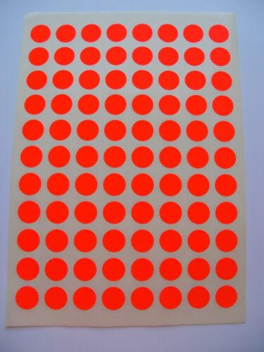 352 Klebe Etiketten RUND 20 mm Leuchtrot Markierungspunkte 4 Bogen A4 bedruckbar