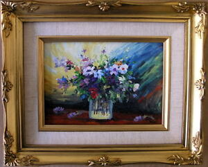 Framed-Oil-Painting-034-Beautiful-Flowers-in-a-glass-034-9x11-inches
