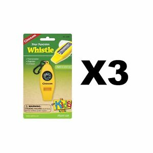 Coghlan's Four Function Whistle for Kids Yellow Thermometer Magnifier (3-Pack)