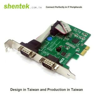 Shentek Serial RS485 RS422 2 Port PCIe Card 2 4 Wire Low Profile Bracket