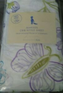 New-Pottery-Barn-Kids-Marissa-BUTTERFLY-Crib-SHEET-toddler-bed-purple-floral