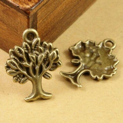 10x Baum Halsketten Anhänger Charms Perlen Beads DIY Schmuck Basteln Bronze