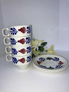 Boch Boerenbont 4 Stackable Coffee Cups & 2 Saucers | eBay