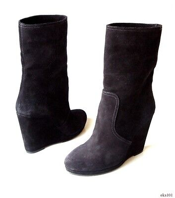 76ef73a5ab3 new $790 PRADA black suede WEDGE heel ankle boots shoes 41 11   eBay