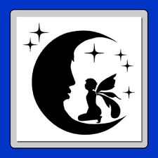 8 X 8 inch Craft STENCIL Fairy sitting on the Moon with Stars Airbrush/Painting