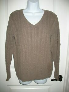 St-Johns-Bay-Sweater-Sz-XL-Cable-Knit-Brown-V-Neck-Thick-Long-Sleeve-Womens
